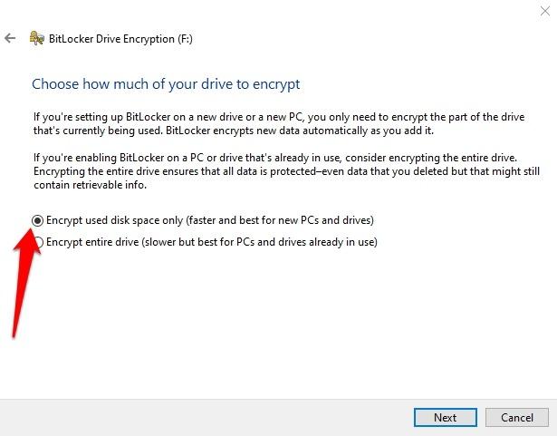 Cifrar memoria USB Windows Espacio de cifrado Bitlocker de 10 discos
