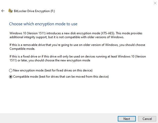Cifrar memoria USB Windows Modo de cifrado Bitlocker de 10 unidades