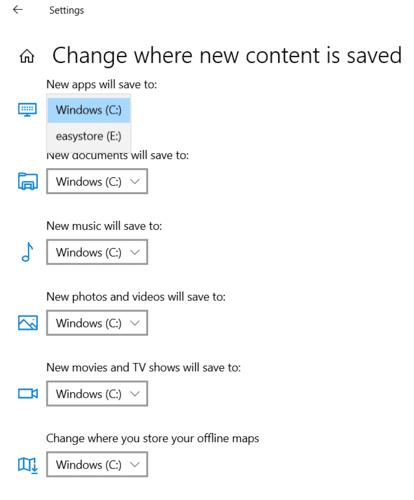 En movimiento Windows Los programas cambian la ubicación de descarga predeterminada