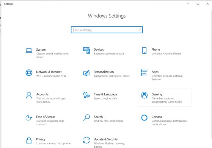 En movimiento Windows Ventana de configuración del programa