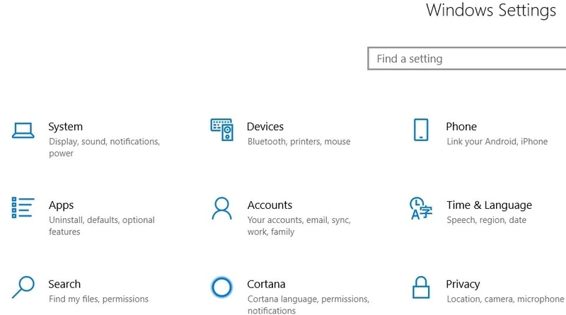 Windows        Página de configuración