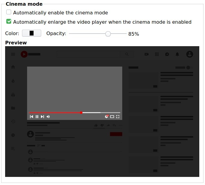 Opciones de Firefox Best Cinema Enhancer Youtube