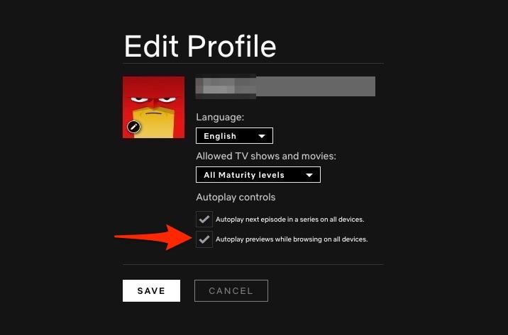 Desactivar la vista previa de la reproducción automática de Netflix Desmarcar la reproducción automática