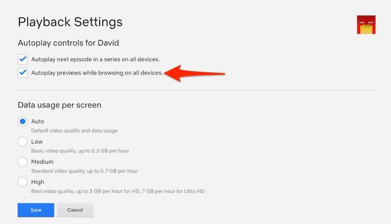Desactivar la reproducción de vista previa de reproducción automática de Netflix