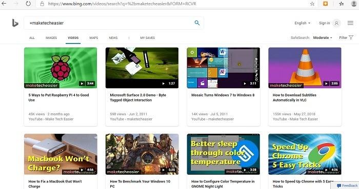 Bing es mejor que las miniaturas de videos de Google