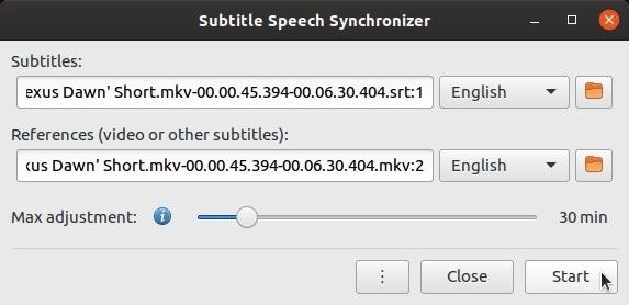 Los subtítulos se configuran automáticamente con Subsync Begin