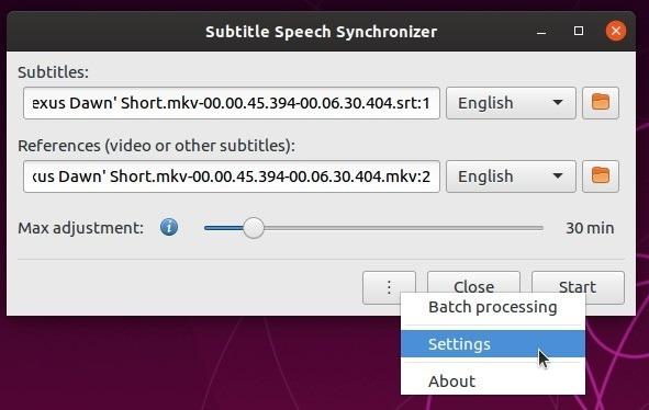Los subtítulos se configuran automáticamente con la configuración del menú Subsync