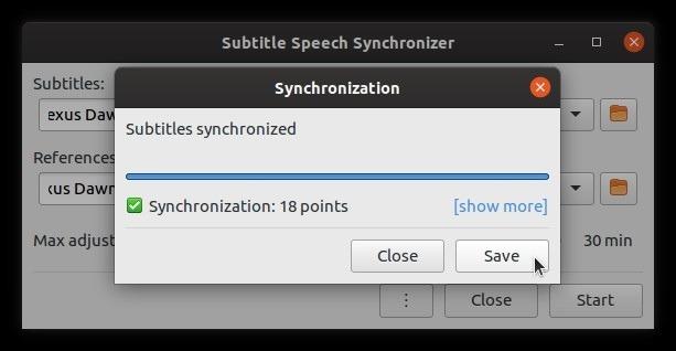 Subtítulos autocorregibles con éxito Sub-sincronización amplia