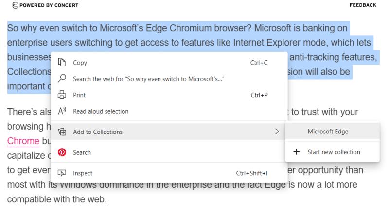 Haga clic en el texto de las colecciones de Microsoft Edge a la colección