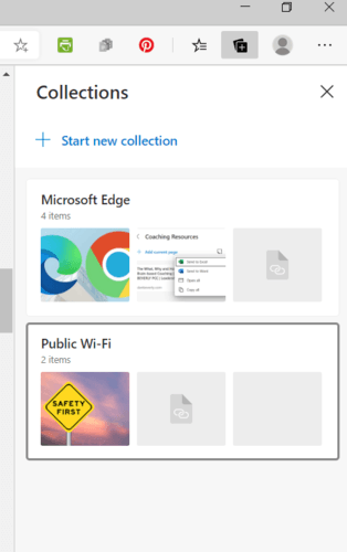 Pantalla de inicio de colecciones de Microsoft Edge
