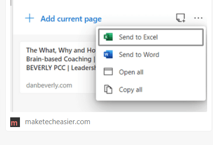 Características de las colecciones de Microsoft Edge Canary
