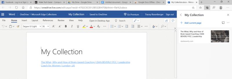 Colecciones de Microsoft Edge enviadas a Word