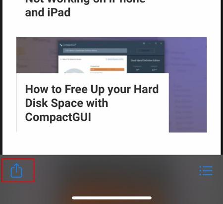 Captura de pantalla completa Botón para compartir de iOS