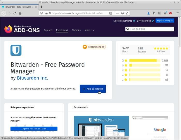 Administrar contraseñas con Bitwarden Firefox Addon