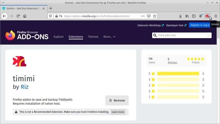 Wiki portátil con Tiddlywiki Timimi en Firefox