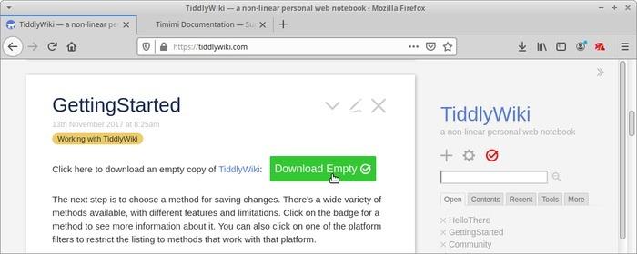 Wiki portátil con Tiddlywiki Descargar vacío