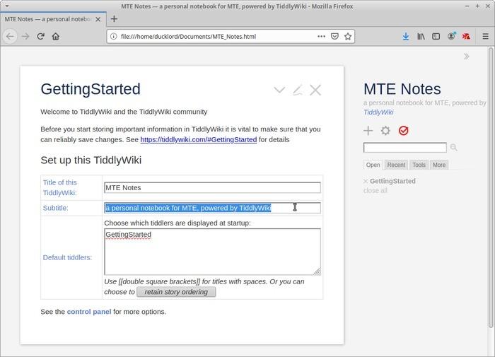 Wiki portátil con Tiddlywiki Personalización de Tiddlywiki