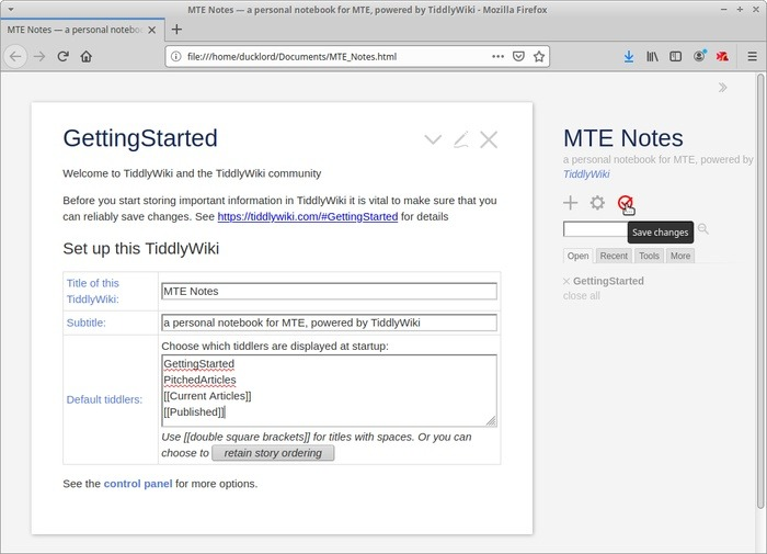 Wiki portátil con enlaces Tiddlywiki Tiddler