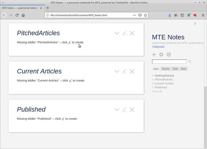Wiki portátil con marcadores de posición de Tiddlywiki Tiddler