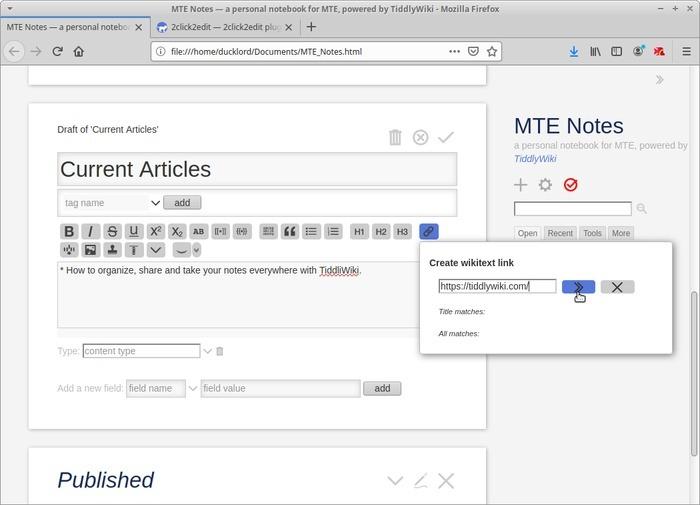 Wiki portátil con Tiddlywiki Editar Tiddler