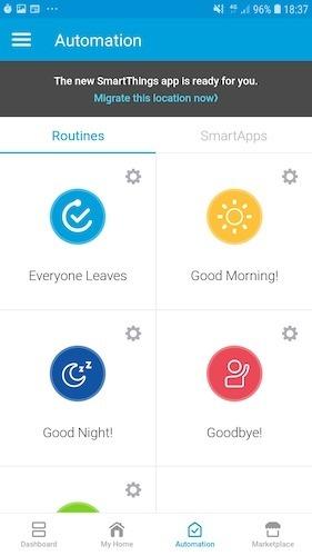 Smartthings de rutina de Samsung
