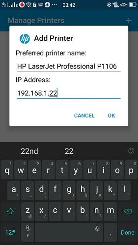 Imprimir usando Android Complemento de servicio de HP Phone Agregar dirección IP de impresora