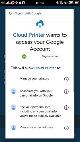 Imprimir usando Android Autoriza tu teléfono de Google Cloud