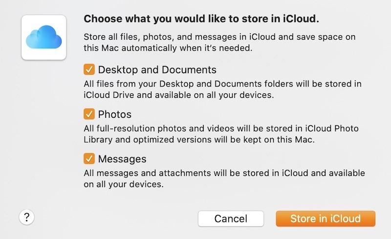 Limpiar la tienda del disco duro de Mac en Icloud