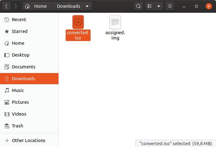 Linux convierte Img en un archivo ISO convertido