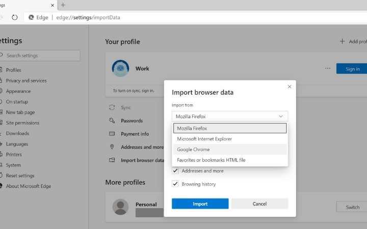 Perfiles de usuario perimetrales Importa datos del navegador