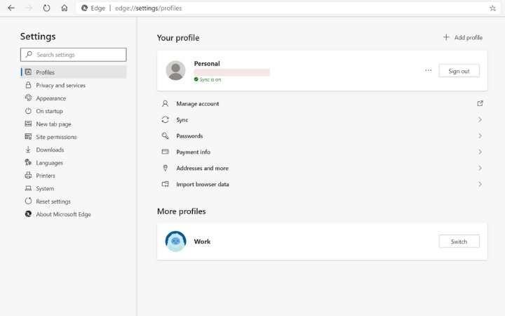 Ventana de gestión de perfiles de perfil de usuario de Edge