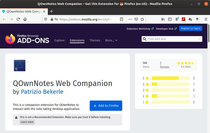 Qownnotes examina varias extensiones de navegador