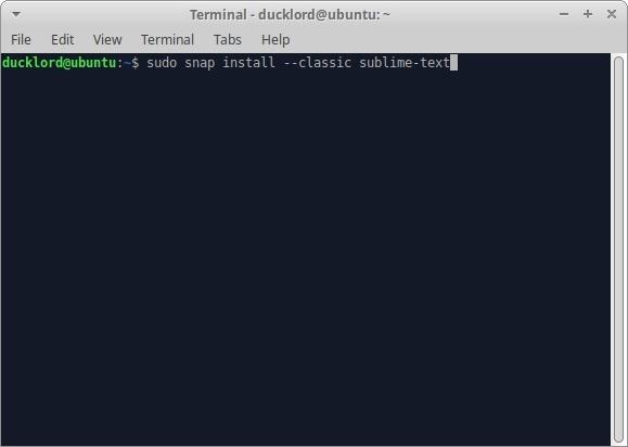 Texto sublime de Ubuntu para Html Terminal Snap Classic