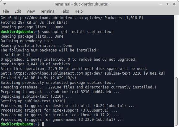 Ubuntu Sublime Text para HTML Apt Installer Sublime