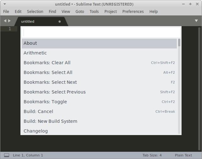 Texto sublime de Ubuntu para la paleta de comandos HTML
