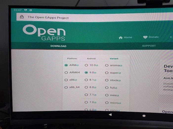 Descargue el paquete GApps en su Raspberry Pi.