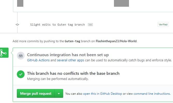 Solicitudes de Github para agregar verificación de fusión de animación