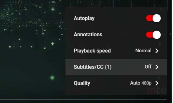 Activar subtítulos de Youtube Haga clic en los subtítulos