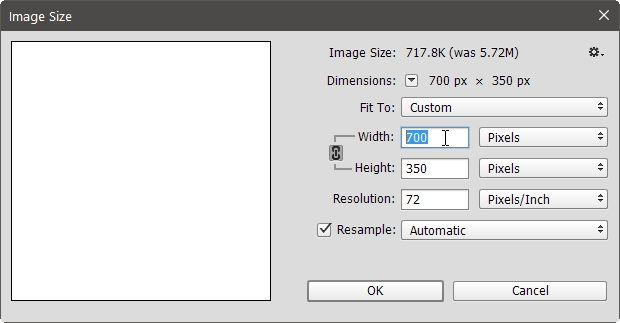 Ventana Tamaño de imagen de proceso por lotes Ps