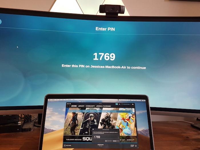 Steam Link ahora mostrará el código PIN, que puede usar para conectar su computadora o computadora portátil al monitor externo.
