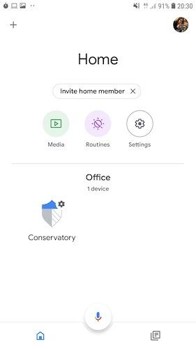 Puede iniciar sesión en SmartThings a través de la aplicación Google Home.
