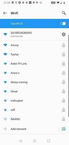 Android        Lista de Wi-Fi