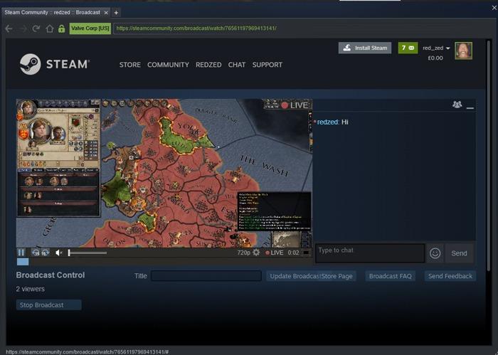 Deja que mis amigos me sigan jugando juegos de Steam Broadcasting 2