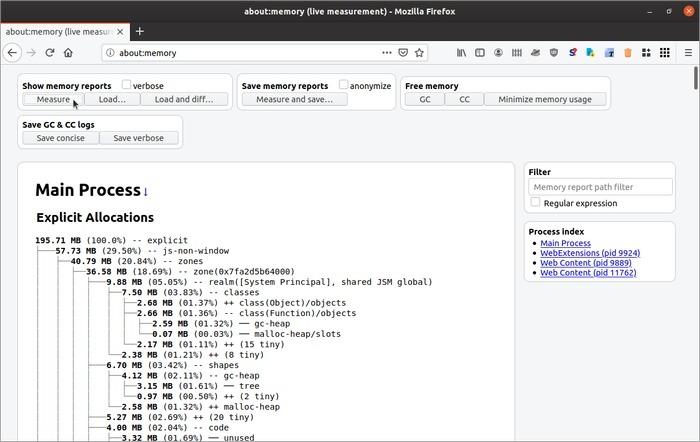Mal comportamiento de la memoria de Firefox