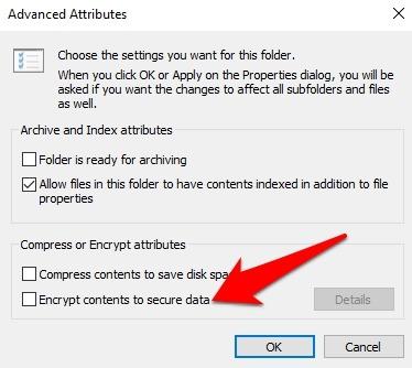 Protección de archivos con contraseña Windows 10 Propiedades del archivo Cifrado avanzado Contenido de datos seguro