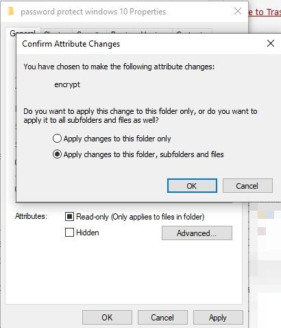 Protección de archivos con contraseña Windows 10 cambios en los atributos de las propiedades de la carpeta