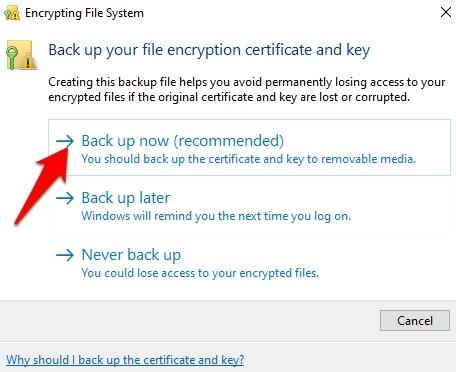 Protección de archivos con contraseña Windows 10 propiedades de la carpeta de respaldo ahora