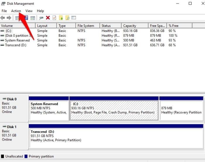 Protección de archivos con contraseña Windows 10 Acción de gestión de disco