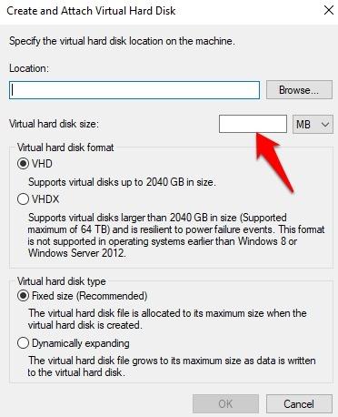 Protección de archivos con contraseña Windows Tamaño 10 VHD