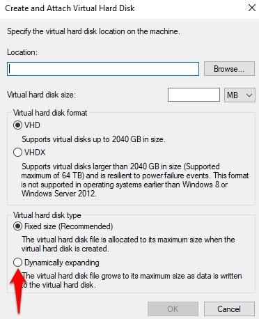 Protección de archivos con contraseña Windows Expansión dinámica de tamaño de 10 Vhd